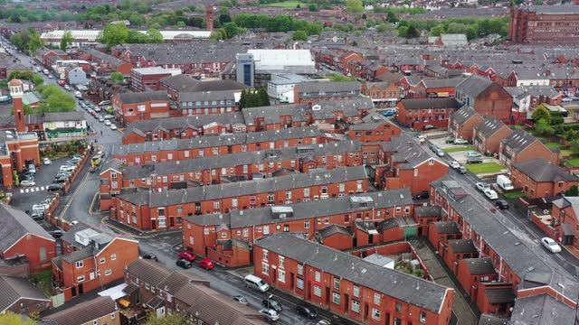 an aerial view of homes in bolton as soldiers and the council distribute covid-19 polymerase chain reaction tests to local residents to combat rising... - geographical locations stock videos & royalty-free footage