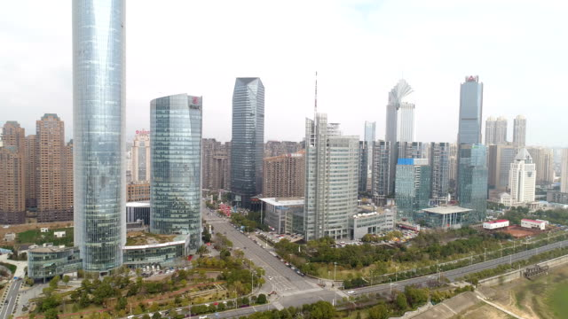 an aerial view of nanchang cityscape on march 08 2018 in nanchang jiangxi province china nanchang is the captial city of jiangxi province - エディトリアル点の映像素材/bロール