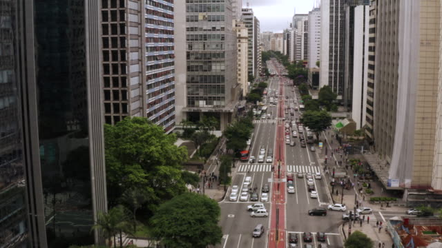 an aerial view of paulista avenue in sao paulo. brazil. - avenida paulista stock videos & royalty-free footage