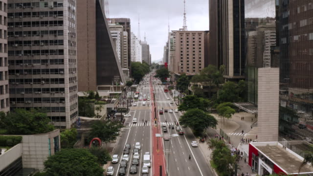 an aerial view of paulista avenue in sao paulo. brazil. - são paulo stock videos & royalty-free footage