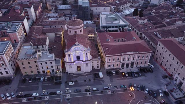 """an aerial view of piazza duomo and santa maria del suffragio in l'aquila with special lights on january 16, 2021. l'aquila is a finalist for """"2022... - finalist stock videos & royalty-free footage"""