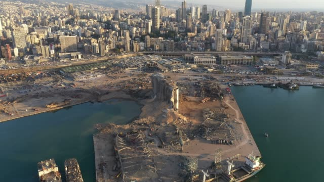 an aerial view of ruined structures at the port, damaged by an explosion a day earlier, on august 5, 2020 in beirut, lebanon. as of wednesday, more... - bombing stock videos & royalty-free footage