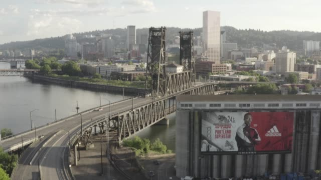 an aerial view of steel bridge in portland. oregon. usa. - portland oregon stock videos & royalty-free footage