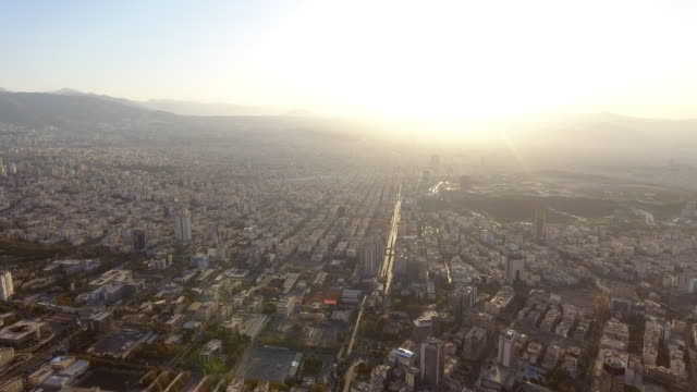 An aerial view of Tehran, Iran at sunrise.