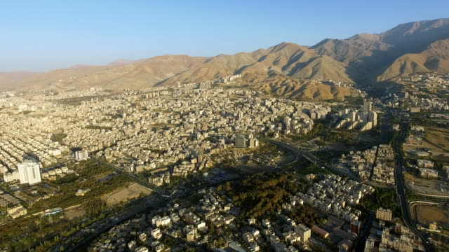 An aerial view of Tehran, Iran at sunrise.
