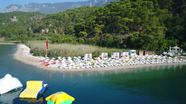 an aerial view of the beach in summer - marmaris stock videos & royalty-free footage