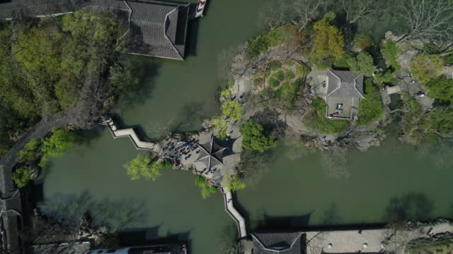 an aerial view of the famous humble administrator's garden on march 27, 2017 in suzhou, china. - classical chinese garden stock videos & royalty-free footage