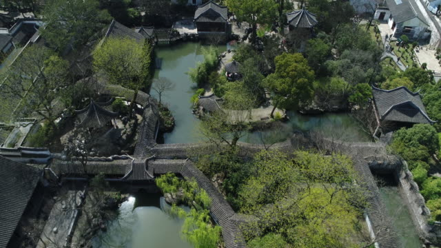an aerial view of the famous humble administrator's garden on march 27 2017 in suzhou china - oriental garden stock videos and b-roll footage