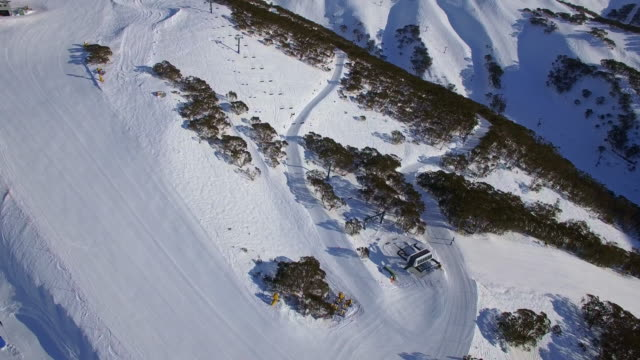 An aerial view of the Mount Hotham Ski Resort in the Victorian Alps, Great Dividing Range.