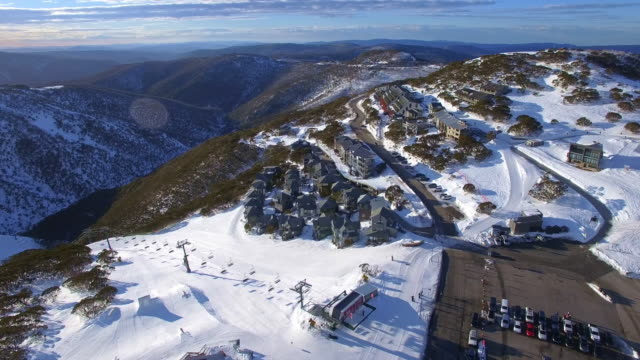 an aerial view of the mount hotham ski resort in the victorian alps, great dividing range. - david ewing stock videos & royalty-free footage
