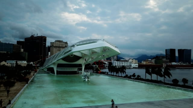 vídeos de stock, filmes e b-roll de an aerial view of the museu do amanhã , rio de janeiro, brazil. - museu