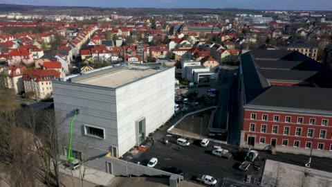 an aerial view of the new bauhaus-museum weimar on april 04, 2019 in weimar, germany. the museum is devoted to the bauhaus and shows examples of... - weimar stock videos & royalty-free footage
