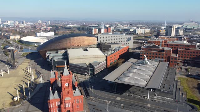 an aerial view of the pierhead building and senedd, home of the welsh parliament, on march 23 in cardiff, wales. - clear sky stock videos & royalty-free footage