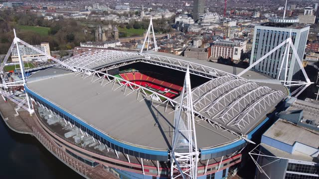 an aerial view of the principality stadium, formerly the millennium stadium, on march 23 in cardiff, wales. - clear sky stock videos & royalty-free footage