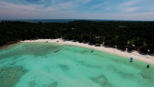 An aerial view of the pristine waters of Ko Racha Island Thailand.