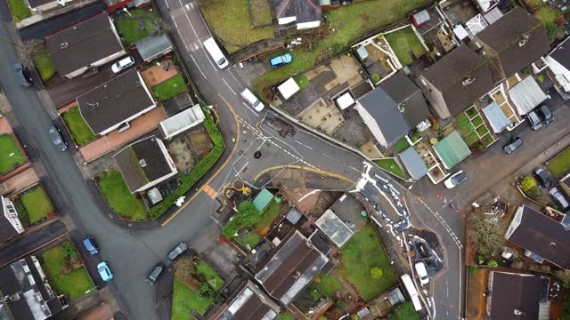 """stockvideo's en b-roll-footage met an aerial view of the scene of a mine shaft """"blow out"""" during storm christoph on january 29 in skewen, wales. approximately 80 people were evacuated... - natuurramp"""