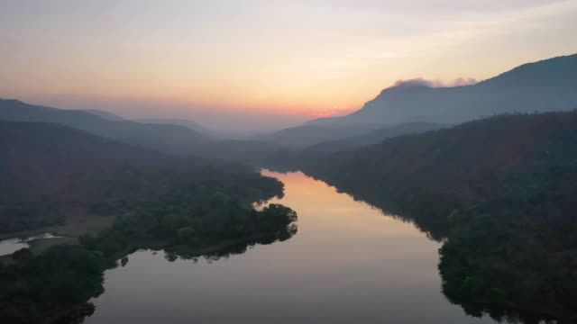 an aerial view of the uber-peaceful dadiganahalli dam - river stock videos & royalty-free footage