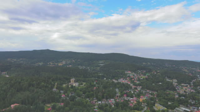 an aerial view of the village of szklarska poreba, poland is seen on august 23, 2020. the village situated near the polish section of the giant... - {{asset.href}} stock-videos und b-roll-filmmaterial