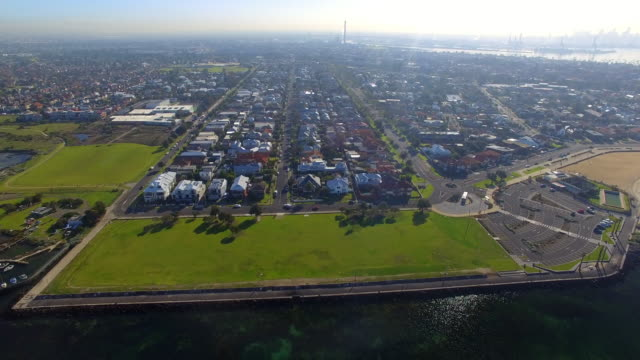 stockvideo's en b-roll-footage met an aerial view of the wealthy coastal suburb of williamstown melbourne. - david ewing
