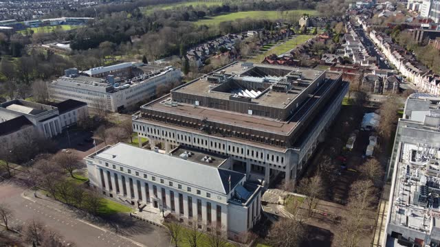 an aerial view of the welsh government building in cathays park on march 23 in cardiff, wales. - clear sky stock videos & royalty-free footage