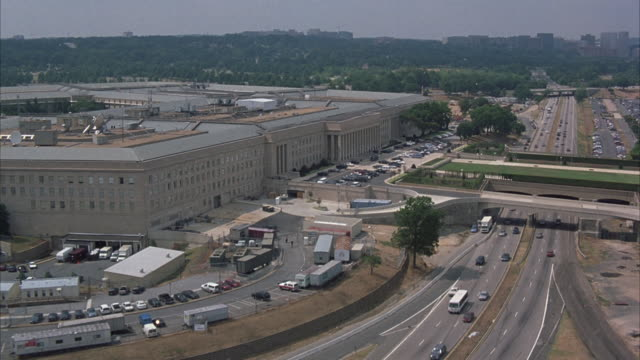 An aerial view of traffic moving on roads near the Pentagon in Washington DC.