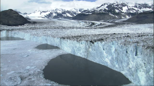 an aerial view reveals the ice pack at the foot of alaska's columbia glacier. available in hd. - columbia glacier stock videos & royalty-free footage