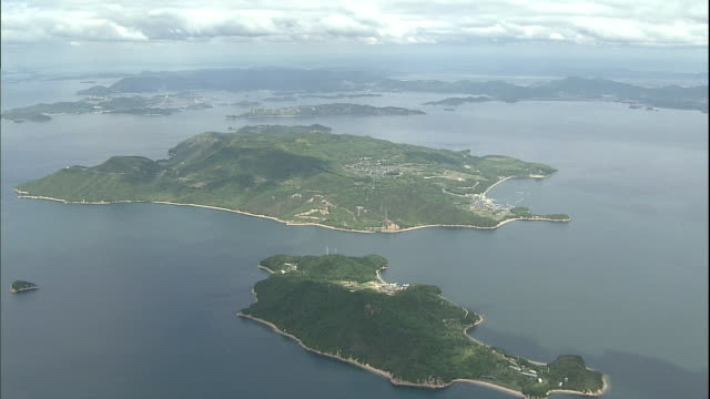 An aerial view shows Teshima Island in the Inland Sea of Japan.
