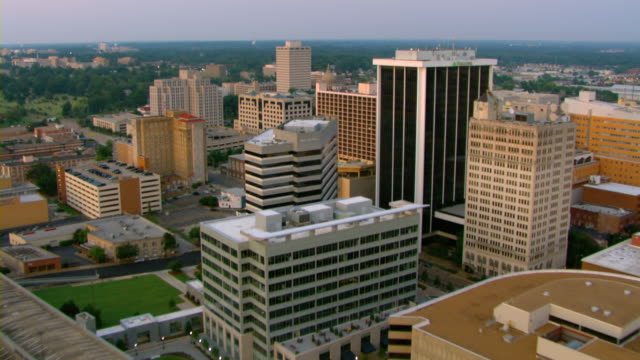 An aerial view shows the buildings of downtown Jackson, Mississippi.