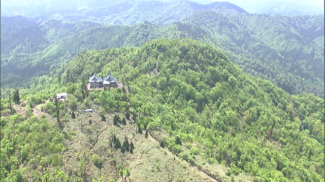 An aerial view shows the Hikosan Jing_ Honsha shrine on the summit of Mt. Hiko.