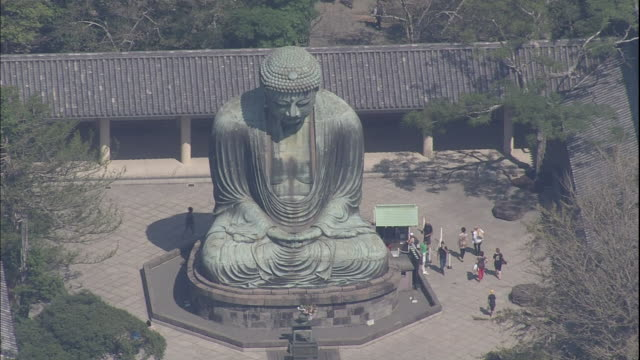 An aerial view shows the statue of Kamakura Daibutsu in the center of a courtyard.