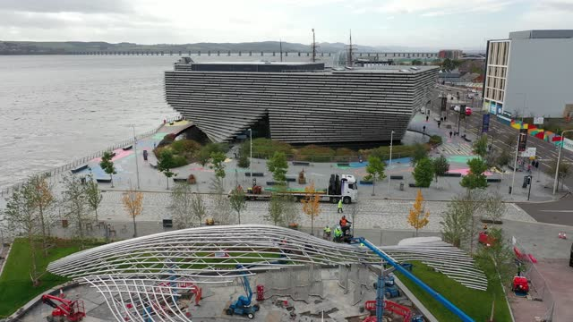 an aeriel view of the newly installed whale sculpture by lee simmons on october 20, 2021 in dundee, scotland. the whale was designed by artist lee... - cetacea stock videos & royalty-free footage
