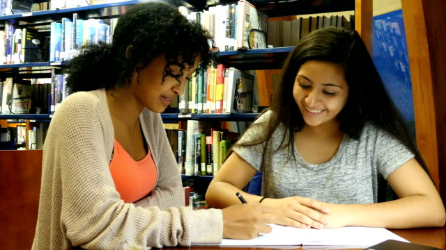 An African American and Middle Eastern female high school STEM students studying together in library