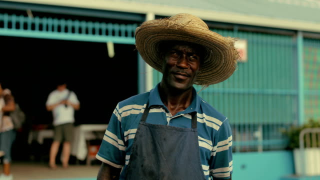 an afro-caribbean market trader sells coconut water and drinking coconuts on a local market in martinique - market trader stock videos & royalty-free footage
