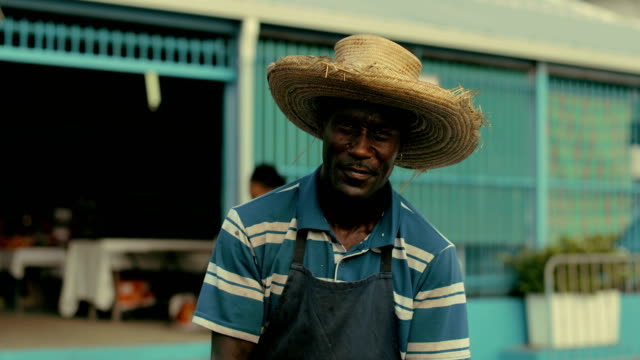 an afro-caribbean market trader sells coconut water and drinking coconuts on a local market in martinique - アフリカ系カリブ人点の映像素材/bロール