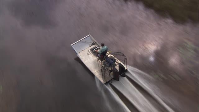 an air boat cruises over waterways through the everglades. - エバーグレーズ国立公園点の映像素材/bロール