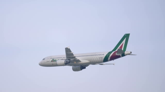 an airbus a320 of alitalia airline during an exhibition at linate airshow on 12 october 2019 in milan - airshow stock videos & royalty-free footage