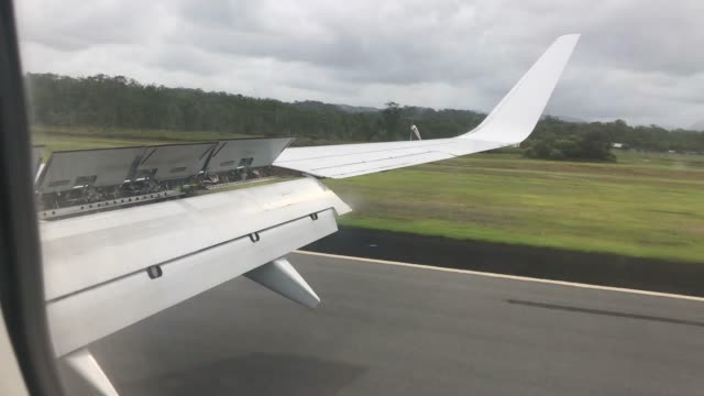 POV of an airplane landing