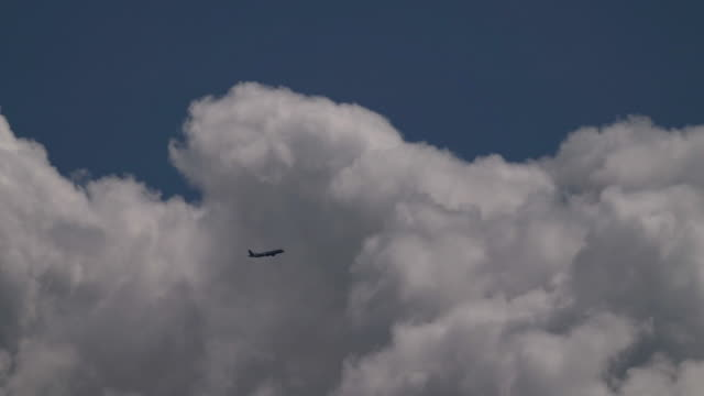 an airplane passing through cumulus clouds in real time - 50 seconds or greater stock videos & royalty-free footage