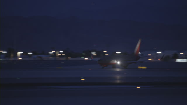 An airplane taking off at McCarran International Airport in Las Vegas.