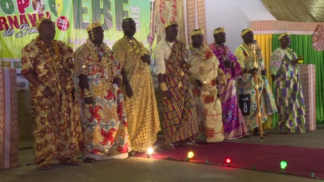 an all male beauty contest known as ebe takes place at the 2018 popo carnival in bonoua the ivorian's version of mardi gras - gras stock videos and b-roll footage