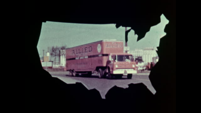 / WS an Allied Van Lines truck convoy rounds a corner inside a cutout of a US map Moving trucks framed inside US map matte on May 01 1964