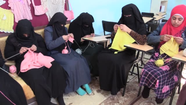 """an all-women run education center at a refugee camp in syria has become """"a source of hope"""" for women and young girls, its manager said. speaking to... - only girls stock videos & royalty-free footage"""