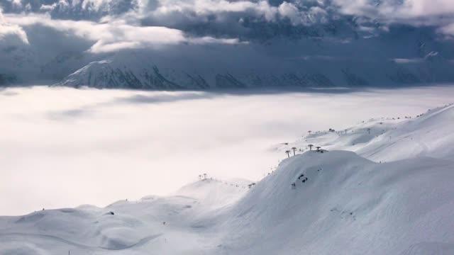 An alpine ski piste beckons at La Flegere ski resort on February 24 2018 near ChamonixMontBlanc France The French Alps are a popular destination for...
