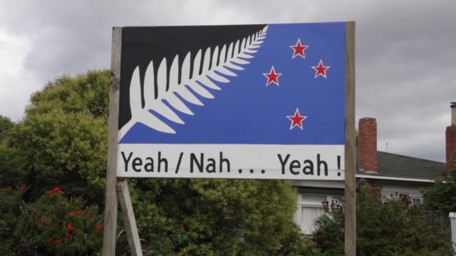 an alternative design for the new zealand flag is displayed in front of a house in auckland, new zealand, on wednesday, march 2 an alternative design... - new zealand culture stock videos & royalty-free footage