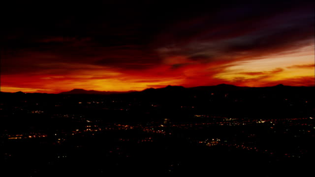 An amazing red glow settles over the San Fernando Valley as the sun sets.