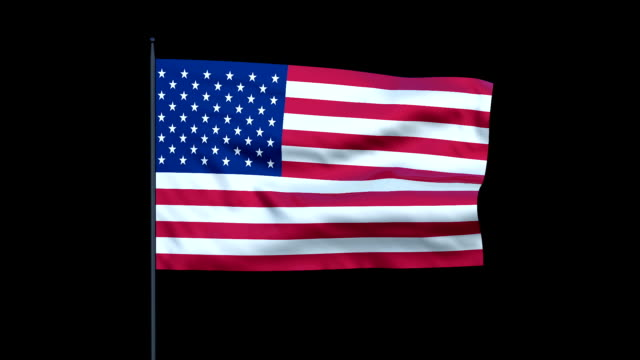 An American flag waves against a black background.