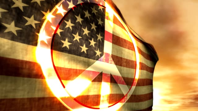 an american flag with an illuminated peace sign on it, waves in the wind. - societal symbol stock videos & royalty-free footage