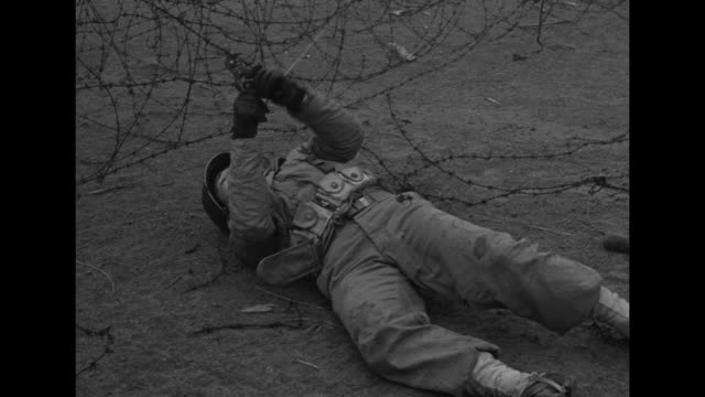 vídeos de stock, filmes e b-roll de an american gi throws himself on his belly, rolls over, pulls clippers from his belt and proceeds to cut barbed wire as another crawls forward from... - world war ii