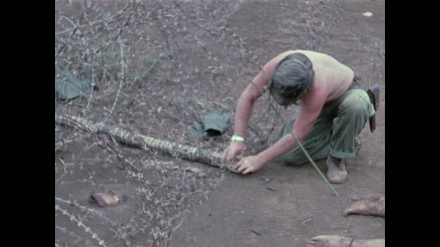 an american soldier disarms a bangalore torpedo explosive that the north vietnamese commandos intended to use to blow a whole in the barbedwire... - graphic war footage stock videos & royalty-free footage