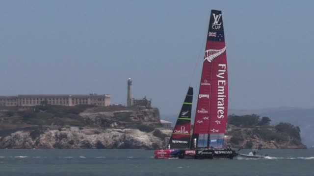 an america's cup yachting event already marred by tragedy was stung again in its first race sunday when emirates team new zealand won by forfeit... - 2013 stock videos & royalty-free footage